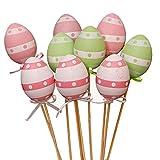 FnieYxiu DIY Toys, 9Pcs Colorful Plastic Simulation Easter Egg on Stick Gift DIY Craft Decoration