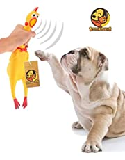 Foodie Puppies Jumbo Size Natural Rubber Squeaky Chew Chicken Toy for Dog (Yellow)