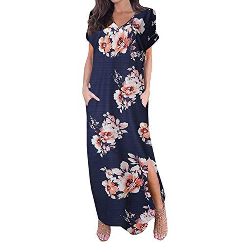 Frauen Sommer Casual T Shirt Kleider Frauen Casual Ärmel V-Ausschnitt Print Maxi Tank Langes Kleid