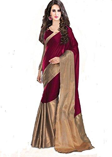 Saree(Women`s cotton silk saree with blouse piece-majenta color)