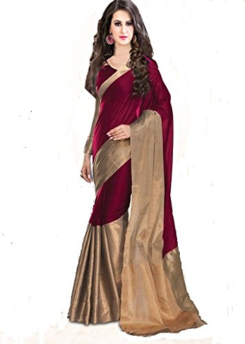 0215f26890127d Sarees(BlueGene Women`s cotton silk saree with blouse piece-majenta color)