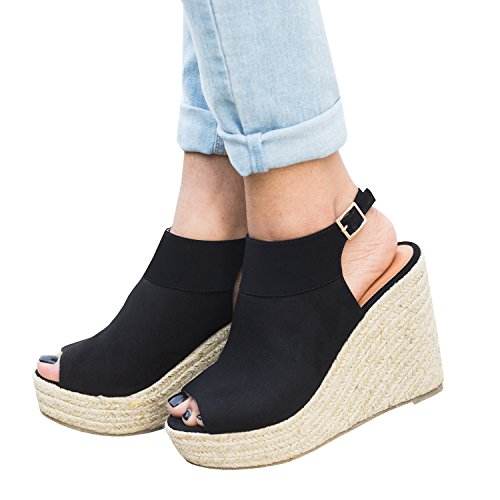 Pxmoda Damen Sommer Espadrille Wedge Sandalen Mode Schnalle Wildleder Plateau Schuhe (40, - Sandalen Schuhe Frauen Wedges