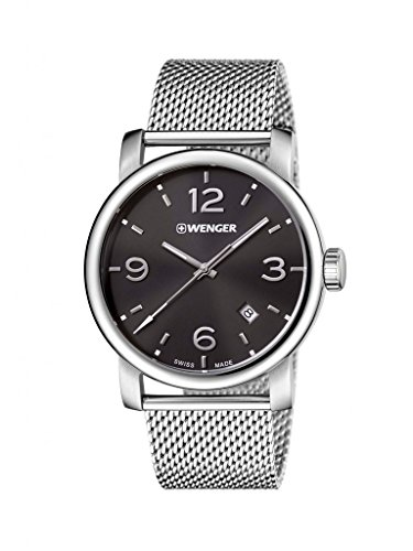 Wenger Herren Analog Quarz Uhr mit Edelstahl Armband 01.1041.124
