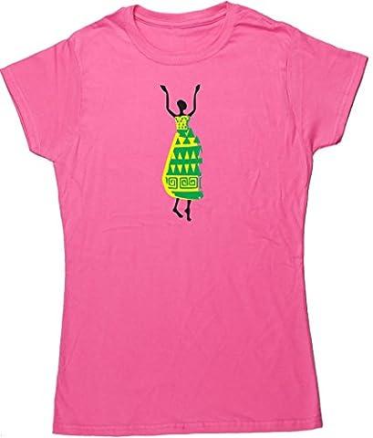 HippoWarehouse danseus'africaine-t-shirt à manches courtes pour femme - Rose - XL