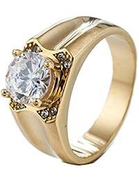 Lafeil Ringe Männer Gold Herren Ringe Vintage Single Zirkon Silber Gold 10mm Breit 9g Gothicring