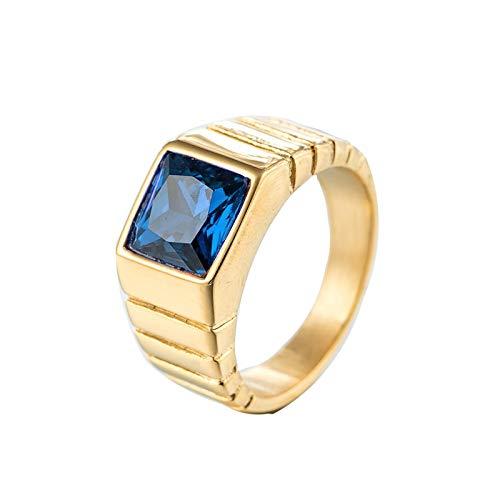 Lafeil Edelstahlring In Ring Gothic Ring Gold Leiter Gold Gr. 65 (20.7) 10.5mm 10G Gold Mit Blau Stein Gothicring -