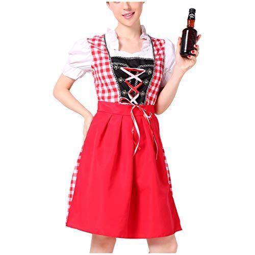 ToDIDAF Sexy Kleid für Damen Frau Mädchen Oktoberfest Theme Maidservant Cosplay Kostüme für Halloween Oktoberfest Rot XL