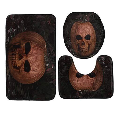 e Dekoration, 3-teiliges Halloween-Kürbis wasserdichtes Polyester-WC-Sitz-Deckel-Set, Rutschfest, quadratisch, U-Form, C, C ()