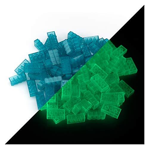lumentics Leuchtsteine - Im Dunkeln leuchtende Spielsteine. Mehrfarbig, kompatibel, passgenau und geprüft. Leuchten ca. eine Stunde. (Menge: 100Stk 2x4, Blau)
