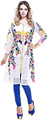 Spangel Fashion Trendy White Color Georgette Embroidery Semi Stitched kurti