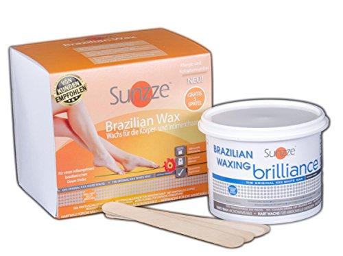 Sunzze Brazilian Wax Brilliance 400gr, Intimenthaarung, Heisswachs auch für Mikrowelle geeignet, gratis 5 Spatel
