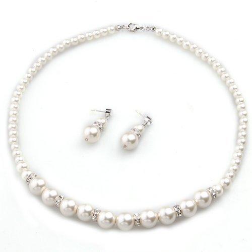 SODIAL(R) Conjunto Collar Pendientes Banado de Plata Perla Imitacion Circonita Blanco