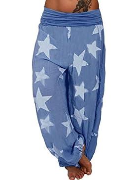 DAYLIN Mujer Largo Pantalones Casual Suelto Estrellas Impresión Sport Pantalones Harem