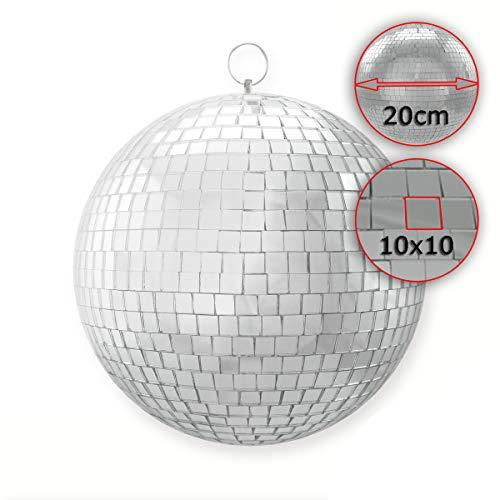 Spiegelkugel 20cm, silber, 10x10mm Facetten aus Echtglas • hochwertig verarbeiteter Mirrorball mit Kunststoffkern • Die Diskokugel hat eine durchgehende Metallachse • Ideal für Disco, Party, Club oder zur Dekoration