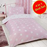 Price Right Home Pink and White Stars 4 in 1 Junior Bedding Bundle Set (Duvet, Pillow and Covers)
