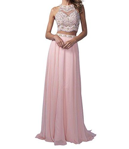 La_Marie Braut Langes Zwei-teilig Perlen Abendkleider Promkleider Partykleider Chiffon A-Linie Rock-36 Rosa