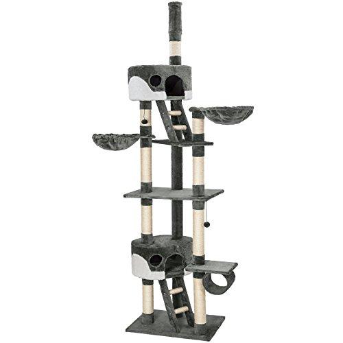 TecTake Arbre à chat XXL grattoir avec différents éléments - gris blanc - hauteur : env. 240-260cm