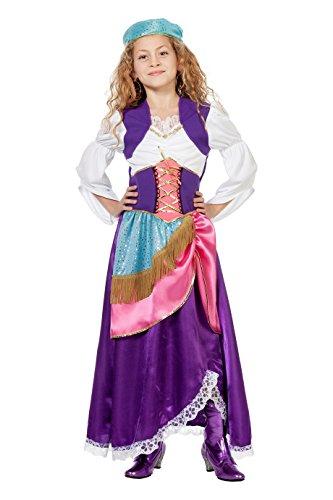 Zigeuner Mädchen Kleid und Kopftuch Gr. 104 - 164 hier: (Mädchen Kinder Kostüme Für Zigeuner)