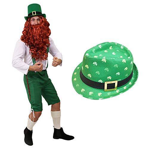 Kostüm Irland Ringe - ILOVEFANCYDRESS Kobold GLÜCKSBRINGER ST Patricks Day Leprechaun Irland KOSTÜM VERKLEIDUNG=GRÜNE 3/4 Latzhose+WEISSES Oberteil+ROTE PERÜCKE+BART+GRÜNER Kleeblatt Hut=XXXLarge