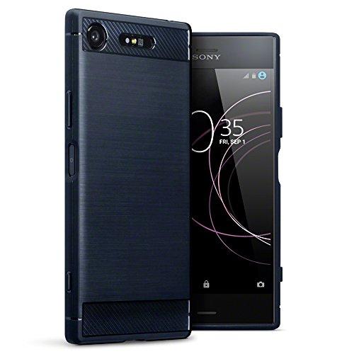 Terrapin, Kompatibel mit Sony Xperia XZ1 Hülle, TPU Schutzhülle Tasche Case Cover mit Karbonfaser & Ausgebürstet Dessin - Blau