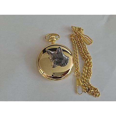 A6Fox testa 1oro lucido, regalo per uomo orologio da tasca al quarzo fob Made in Sheffield