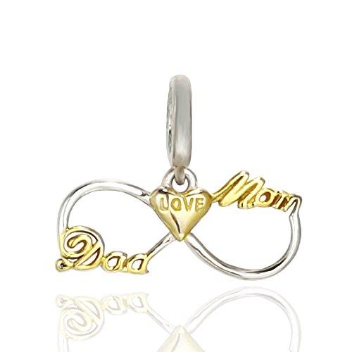 Amatolove jewellery infinity love a mamma e papà in argento sterling 925ciondoli cuore pendente per bracciali gioielli