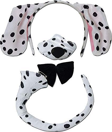 Junggesellinnenabschied Kostüm Weihnachtsparty Stirnband Inc Ohren Nase Fliege Schwanz Set Mit Ton - Dalmatiner Set, Einheitsgröße