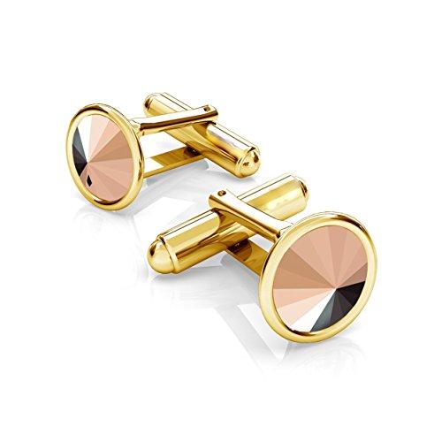 Crystals & Stones *Jet* Elegante Manschettenknöpfe Silber 925 Vergoldet 24 K Herren Sterling Swarovski Rivoli Manschettennadeln PIN/75 (Rose Gold)