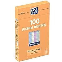 Oxford 100104675 Etui de 100 Fiches bristol perforées 12,5 x 20 cm petits carreaux 5 x 5 Couleurs Assorties