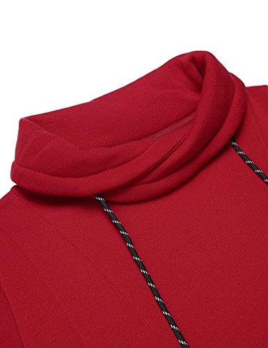 Finejo Damen Kapuzenpullover Schräg Kragen Sweatshirt Lady Fit Pullovershirt Langarmshirt Rot