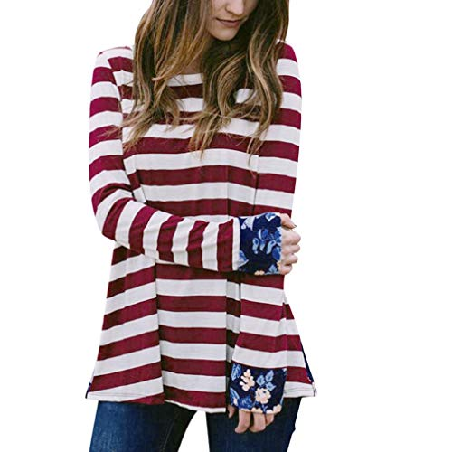 ABsoar Blusen Damen Patchwork Blusen O-Ausschnitt Tops Langarmshirts Frauen Herbst Streifen Shirt Tunika Pulli Sweatshirt Oberteile