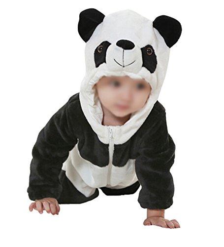verall Strampler Jungen Mädchen Tierformen Fleece Overall mit Kapuze, Panda - 90 ()