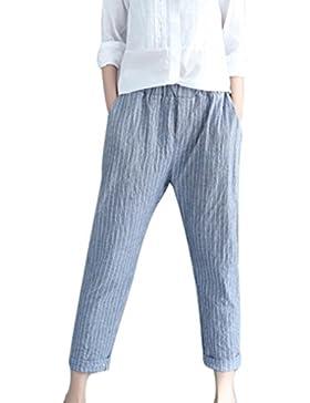Pantalón Mujer by BaZhai Pantalones Harem de Rayas de Lino de Mujer Pantalones de Rayas Sueltas de Moda Pantalones...