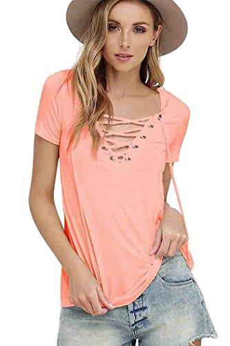 Donna T Shirt Elegante Casual Ufficio Camicetta Manica Corta Camicia Casual Sexy V-collo Lace Up T-shirt Estive Maglia Blusa Tops Tinta Unita - Landove Rosa