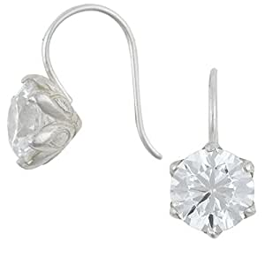 Dower & Hall Bloom - Sterling Silver Lotus Flower Setting 10mm Cubic Zirconia Drop Earrings