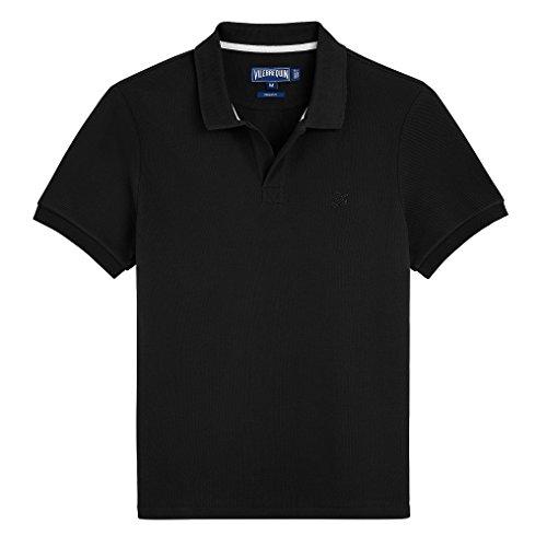 Vilebrequin - Einfarbiges, langärmliges Polohemd aus Baumwollpikee - Jungen Schwarz