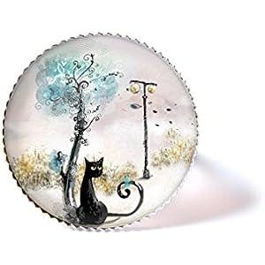 Ring mit Cabochon, Katze