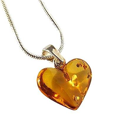 Pendentif Coeur d'ambre en Argent Sterling 925 avec Chaîne Serpent de 18 Pouces