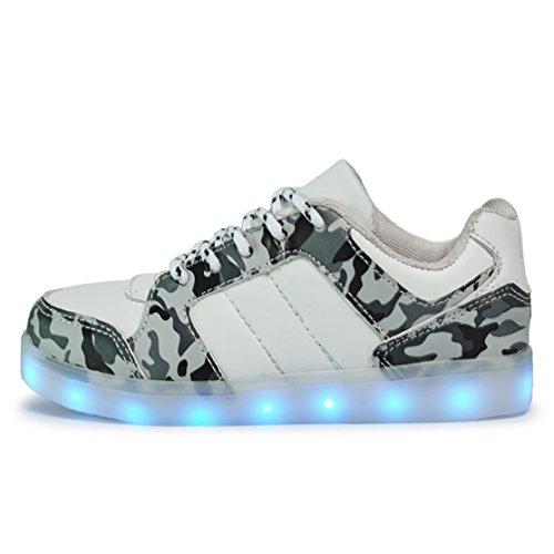 AFFINEST Enfants Chaussures LED Light Up Fashion Camouflage Sneakers Sport  Chaussures charge USB de pour Unisexe ...