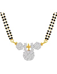 Spargz Traditional Daily Wear Brass Metal Gold CZ Stone Studded Double Line Beaded Mangalsutra For Women AIMS...