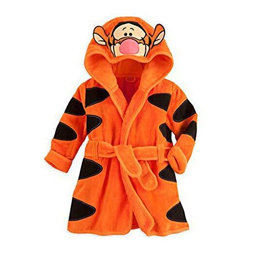 AFFEco - Albornoz con capucha para niños, diseño de animales, toalla de playa, Amarillo, 4-5 años