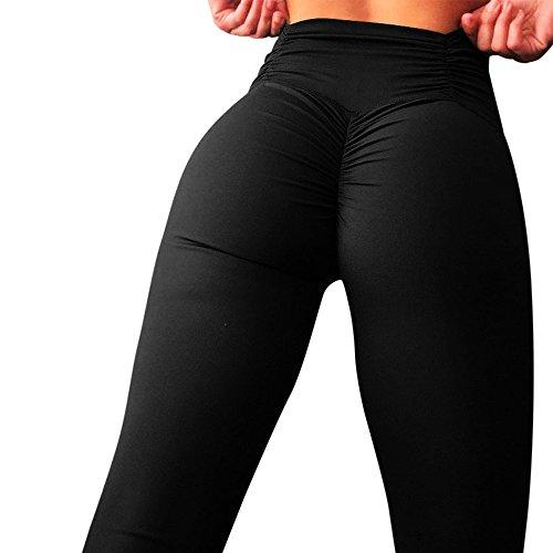 SHOBDW Mujer Moda Entrenamiento Estiramiento Leggings Suaves Flaco Cintura Alta Fitness Correr Mallas Deportes Gimnasio Correr Yoga Pantalones Atléticos(Negro,S)