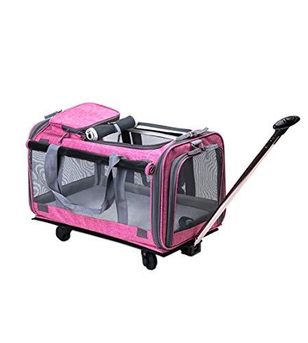 KOSHSH Pieghevole Deluxe trasportino con Ruote, Leggero Passeggino Cat Dog backbag Traspirante con materassino in Pile e Pocket Cibo 360 ° Ruote Mute girevoli,Pink