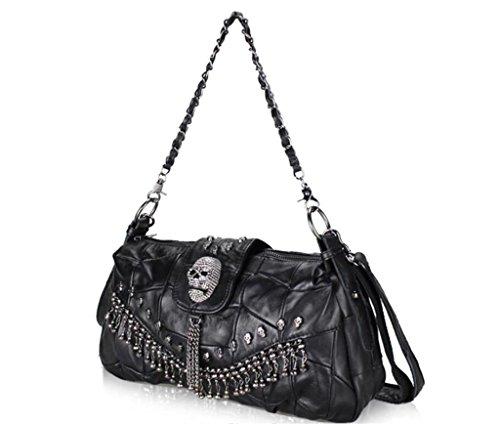 SHOUTIBAO Lady Messenger Bag/Stilvolle Leder Einzelne Umhängetasche/Nähen Kette Handtasche, Einkaufen/Reisen/Arbeit, Persönlichkeit Schwarz Runde Tasche (Nähen Rock Muster Einfache)