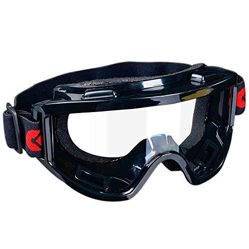 Unisex-Schutzbrille - Taktische Schutzbrille für Paintball, als Windschutz, als Staubschutz, beidseitig kratzfeste Brille, Anti-Beschlag-Beschichtung, transparente Sichtscheibe, Schwarz