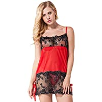 NIGHTCURVE-Perspective Red XL Sexy Lingerie Hot Dress Sleepwear Babydoll Chemise Nightgown w/G-String
