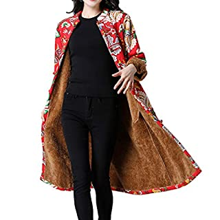 YIHANK Women Coat Jacket,Parka Folk-Custom Print Velvet Cotton Outwear Warm Long ThickGet Up App Local at Space Burlington Biker Awlgrip Wiki Guys Bed Drop Locations Inc Oven Watermelon Red
