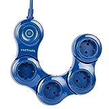 VASTFAFA Flexible 4-Fach Steckdosenleiste(Steckerleiste mit Kindersicherung,Schalter und 1.5 m Kabel),Mehrfachsteckdose mit überspannungsschutz und 4 Steckdose