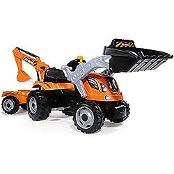 Smoby 710110 Tracteur Builder Max, Pelle, Pelleteuse et Remorque, Siège Ajustable, Orange