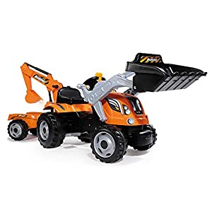 Smoby 710110 Ride on Builder Max Peddle Tractor with Trailer, Orange